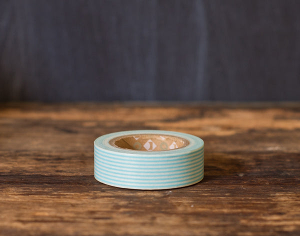 turquoise and white striped MT Brand Japanese washi tape roll