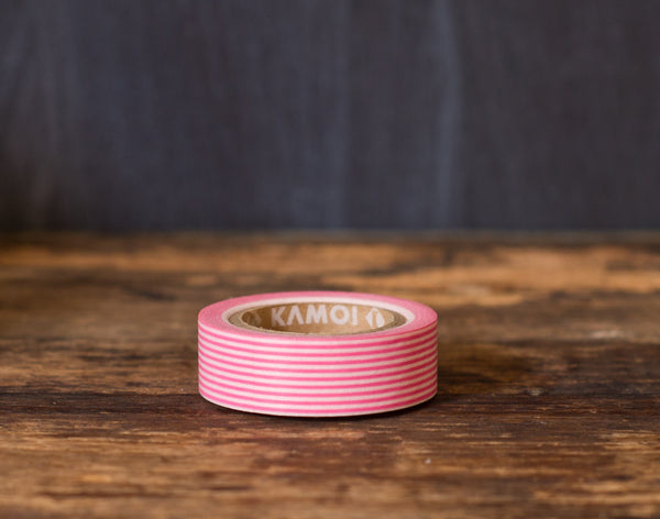 hot pink and white striped MT Brand Japanese washi tape roll