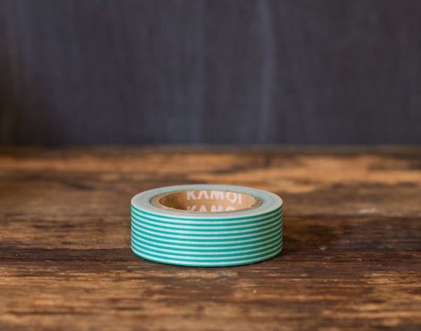 teal and white striped MT Brand Japanese washi tape roll