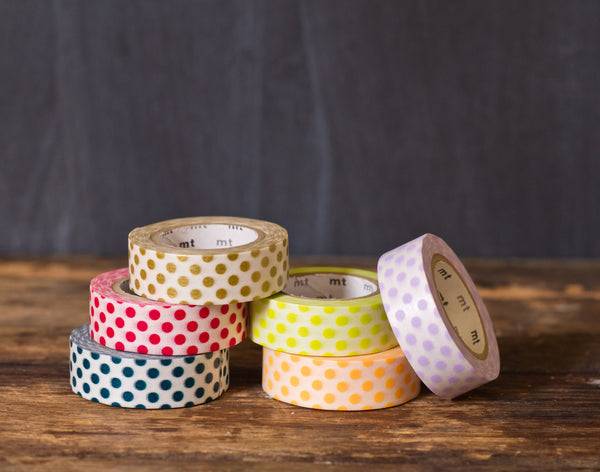 polka dot patterned masking tape rolls from MT Brand