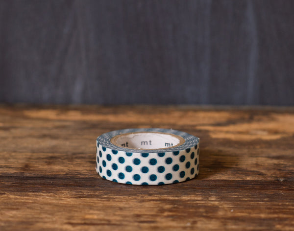 dark green and white polka dot patterned masking tape rolls from MT Brand