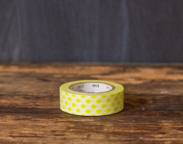 lime green and white polka dot patterned masking tape rolls from MT Brand