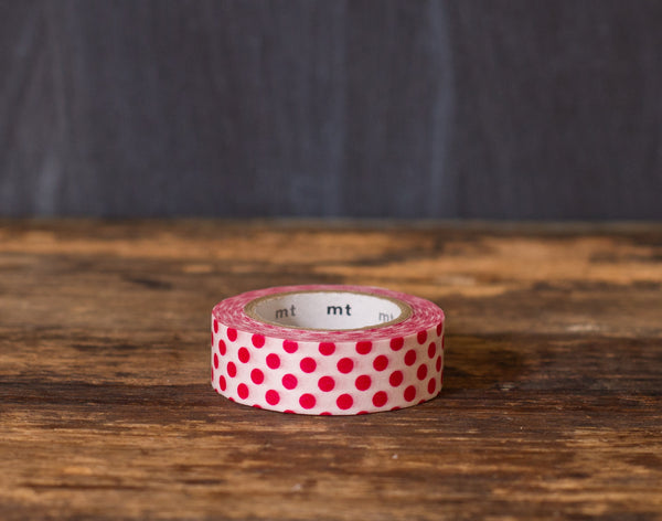 red and white polka dot patterned masking tape rolls from MT Brand