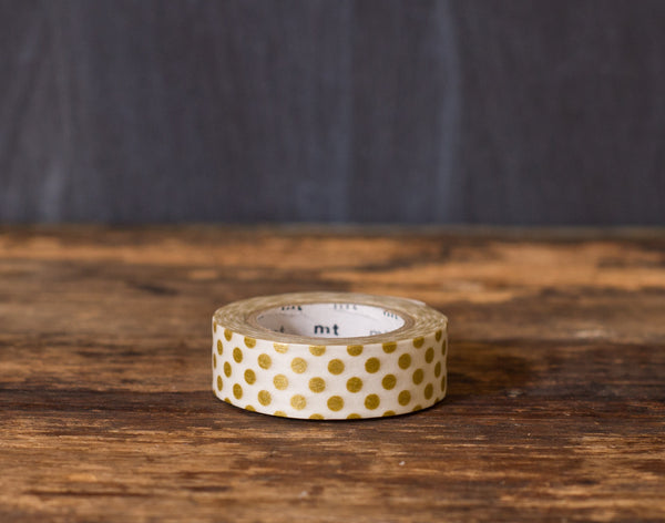 metallic gold and white polka dot patterned masking tape rolls from MT Brand