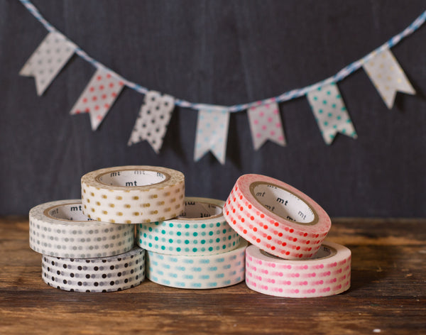 small polka dot printed MT Brand Japanese washi tape rolls