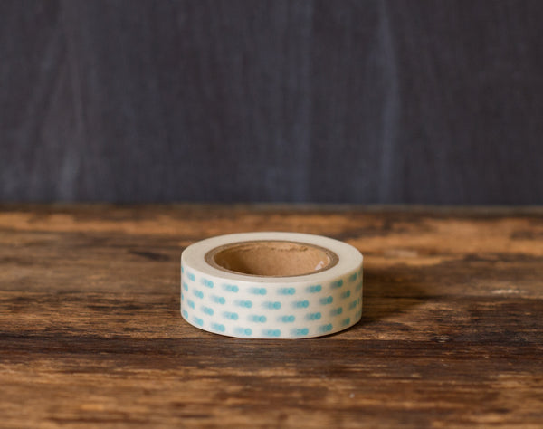turquoise and white polka dot printed MT Brand Japanese washi tape roll