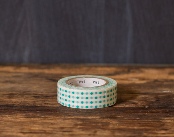 teal and white polka dot printed MT Brand Japanese washi tape roll