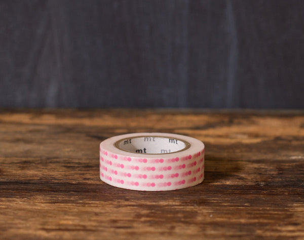 pink and white polka dot printed MT Brand Japanese washi tape roll