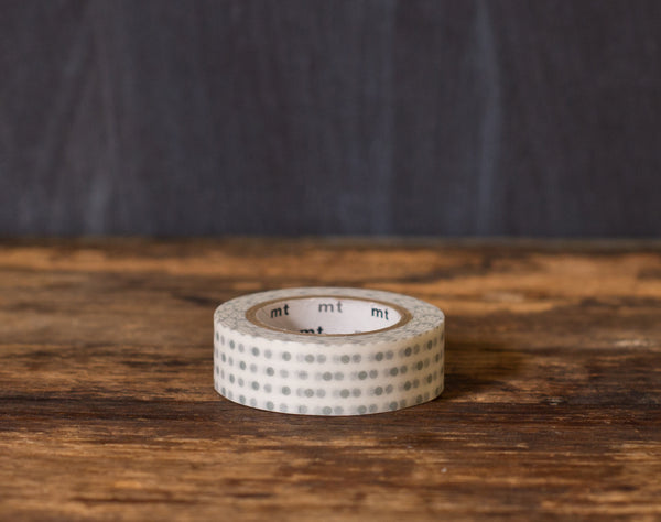 grey and white polka dot printed MT Brand Japanese washi tape roll