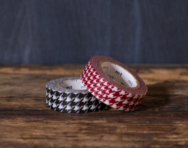 red, black, and white houndstooth print MT Brand Japanese washi tape rolls