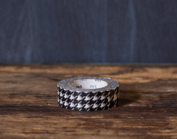 black and white houndstooth print MT Brand Japanese washi tape roll