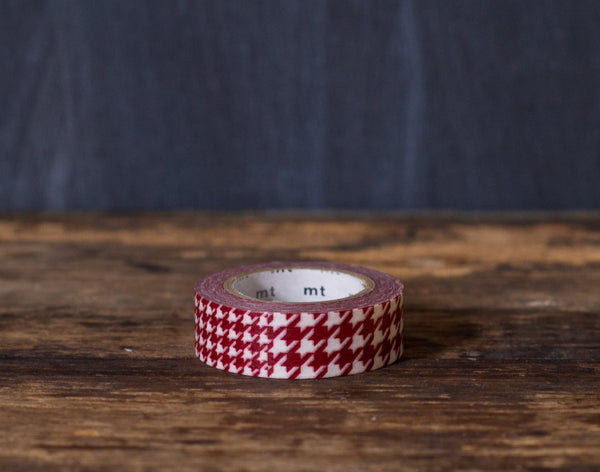 red and white houndstooth print MT Brand Japanese washi tape roll