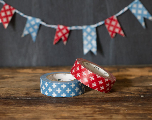 red and blue swiss cross patterned MT Brand Japanese washi masking tape rolls