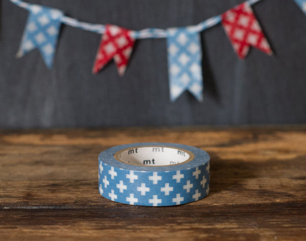 blue and white swiss cross patterned MT Brand Japanese washi masking tape roll