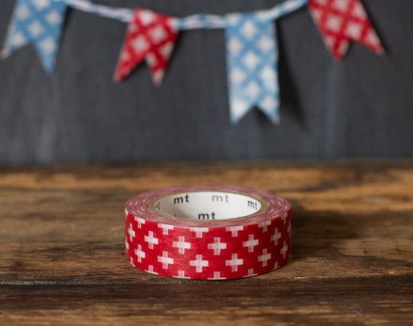 red and white swiss cross patterned MT Brand Japanese washi masking tape roll