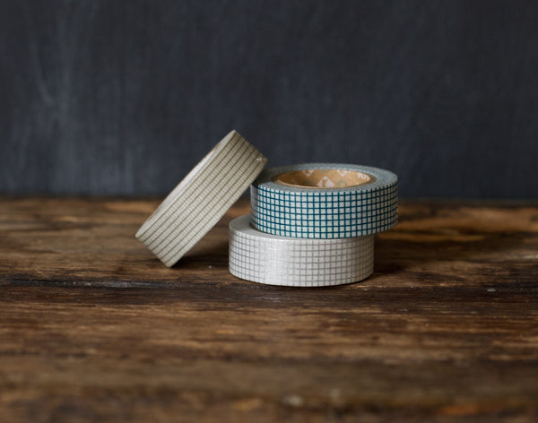 grey, silver, and teal graph paper print MT Brand Japanese washi tape rolls