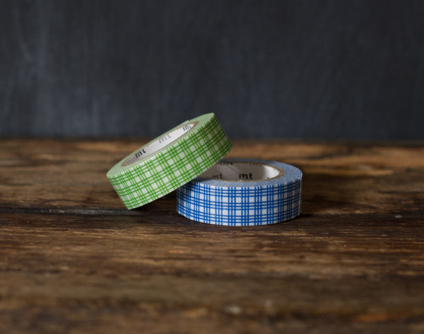 green and blue plaid patterned MT Brand Japanese washi tape rolls
