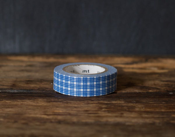 blue and white plaid patterned MT Brand Japanese washi masking tape roll