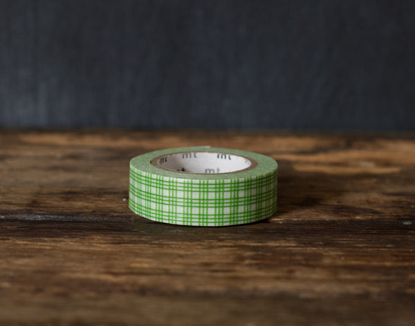 green and white plaid patterned MT Brand Japanese washi masking tape roll