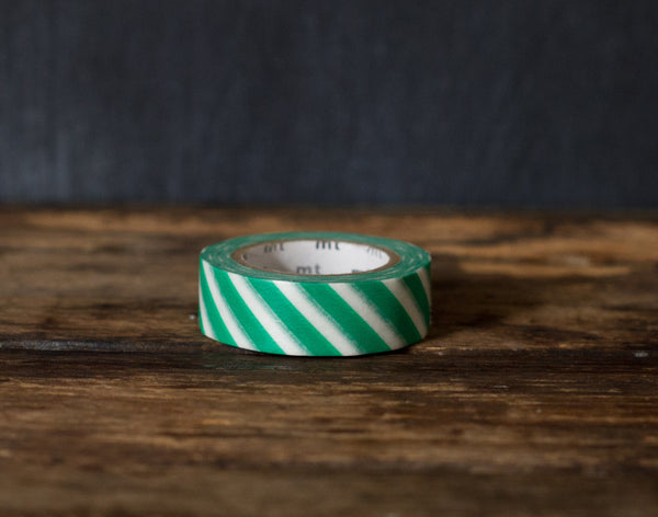 green and white wide airmail stripe MT Brand Japanese washi masking tape roll