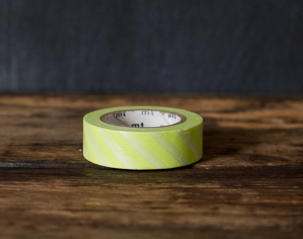 lime green and white wide airmail stripe MT Brand Japanese washi masking tape roll