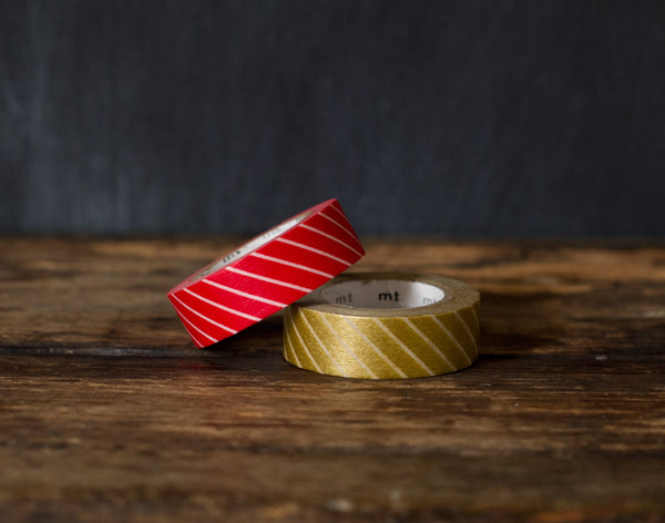 red and gold Christmas airmail stripe patterned MT Brand Japanese washi tape rolls