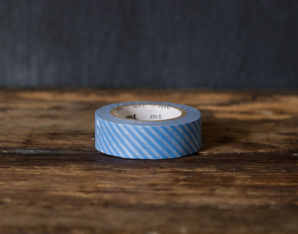 blue thin stripe airmail patterned MT Brand Japanese washi masking tape roll