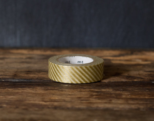 gold metallic thin stripe airmail patterned MT Brand Japanese washi masking tape roll