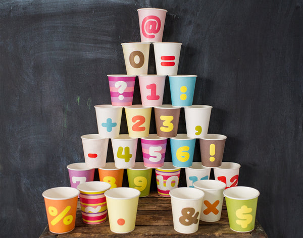 numbered paper party cups