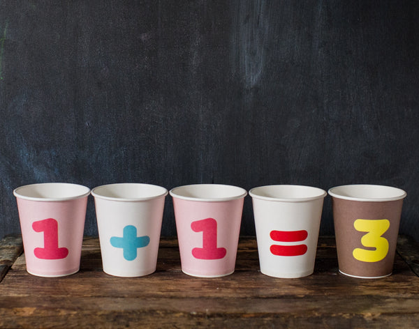 colorful numbered paper party cups