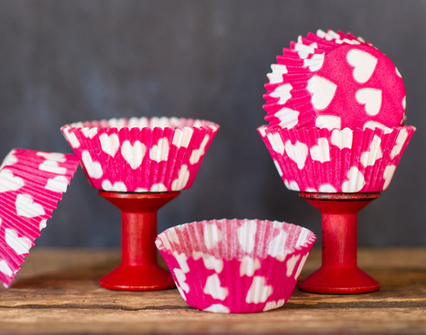 hot pink and white heart printed paper cupcake liners for Valentines Day