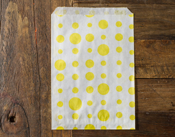 yellow and white polka dot candy, treat, or gift party paper bags