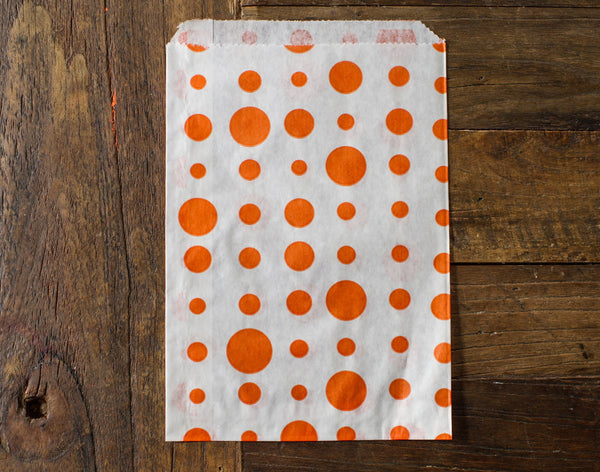 orange and white polka dot candy, treat, or gift party paper bags