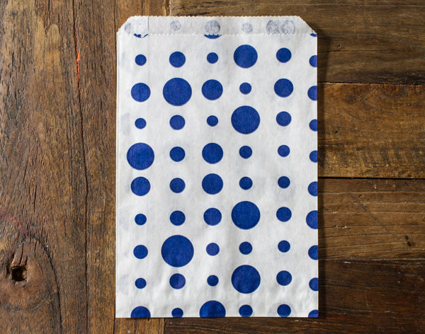 blue and white polka dot candy, treat, or gift party paper bags
