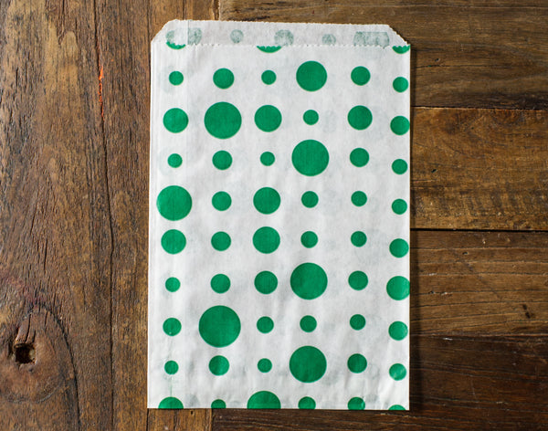 green and white polka dot candy, treat, or gift party paper bags