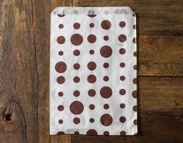 brown and white polka dot candy, treat, or gift party paper bags