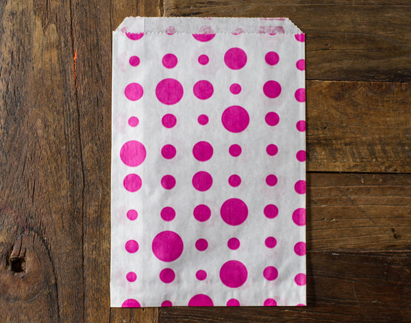 hot pink and white polka dot candy, treat, or gift party paper bags