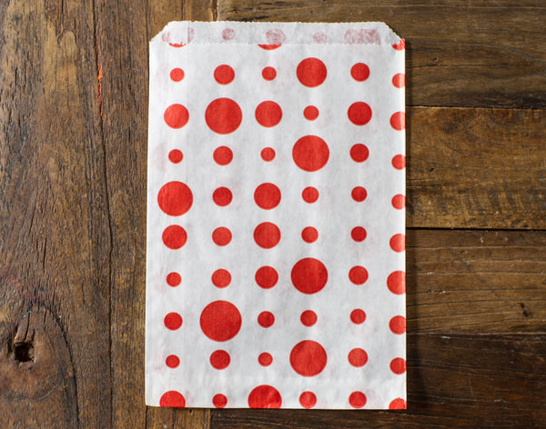red and white polka dot candy, treat, or gift party paper bags