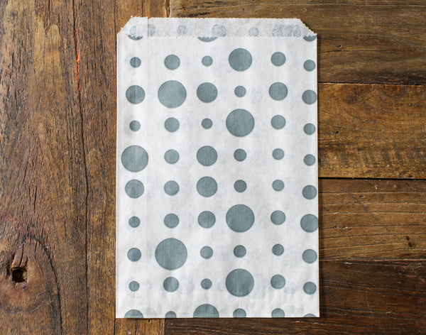 grey and white polka dot candy, treat, or gift party paper bags