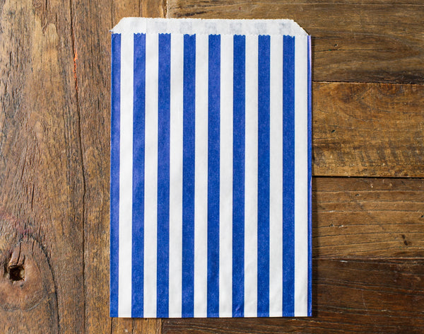 blue and white striped candy, treat, or gift bags for circus party