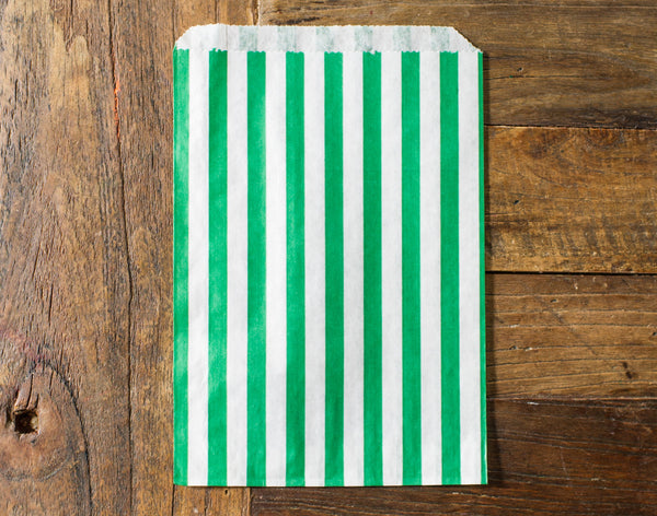 green and white striped candy, treat, or gift bags for circus party