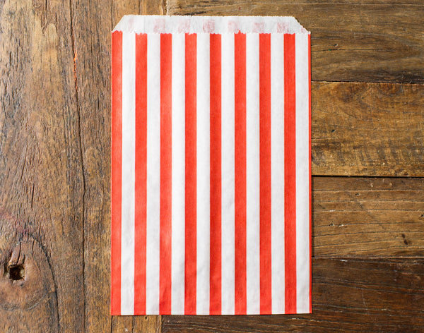 red and white striped candy, treat, or gift bags for circus party