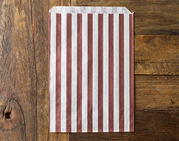 brown and white striped candy, treat, or gift bags for circus party