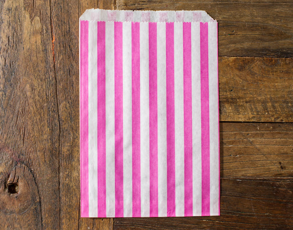 hot pink and white striped candy, treat, or gift bags for circus party