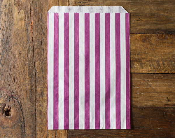 purple and white striped candy, treat, or gift bags for circus party