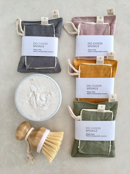 loofah and linen eco sponge set