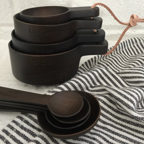black ebony teak wood measuring spoons