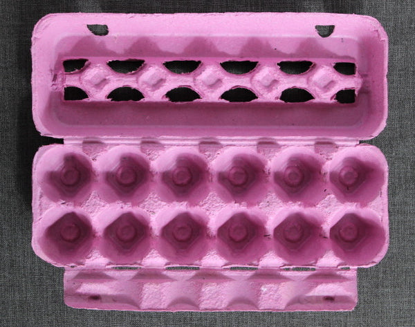 vintage style pink colored paper pulp egg carton for Easter crafts