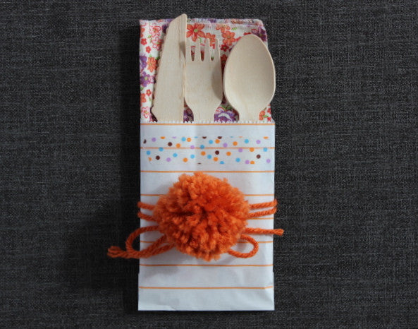 orange and white striped mini modern paper party bags