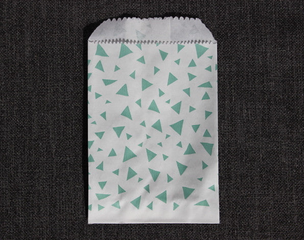 mint green and white triangle printed modern mini paper candy, treat, or gift party bags